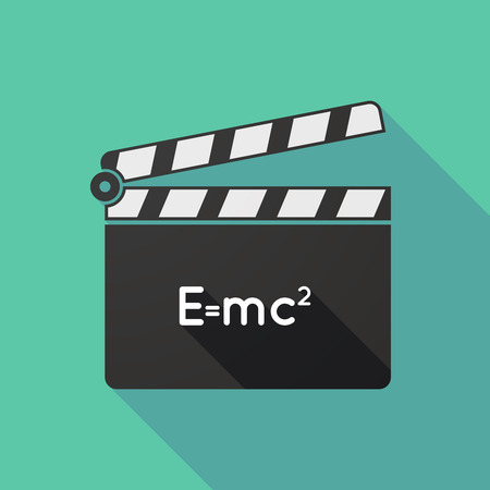 theory: Illustration of a long shadow clapperboard with the Theory of Relativity formula