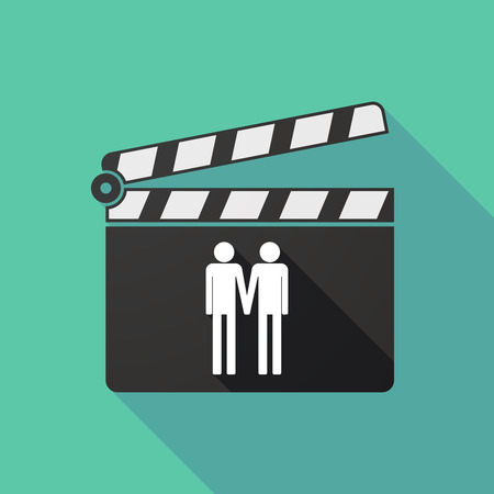 gay couple: Illustration of a long shadow clapperboard with a gay couple pictogram