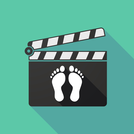 clapperboard: Illustration of a long shadow clapperboard with two footprints Illustration