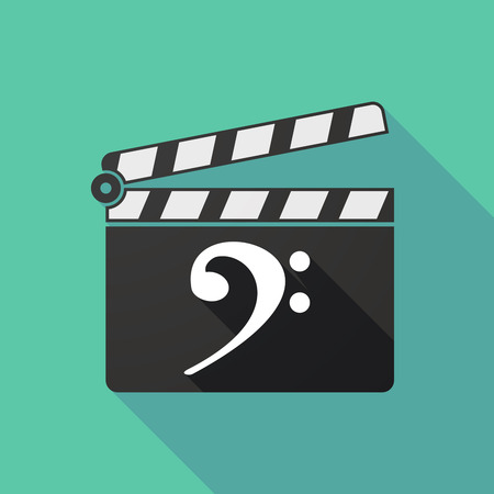 clapperboard: Illustration of a long shadow clapperboard with an F clef