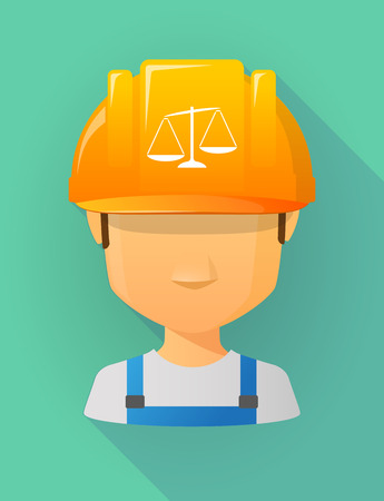 unbalanced: Anonymous male worker avatar wearing a safety helmet that shows  an unbalanced weight scale