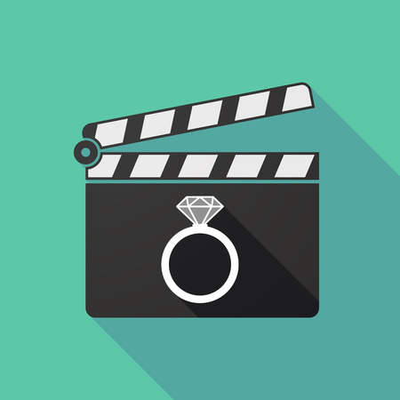 clapperboard: Illustration of a long shadow clapperboard with an engagement ring
