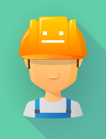 emotionless: Anonymous male worker avatar wearing a safety helmet that shows a emotionless text face Illustration