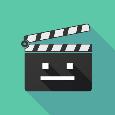 emotionless: Illustration of a long shadow clapperboard with a emotionless text face Illustration