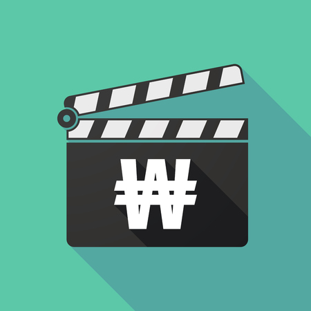 won: Illustration of a long shadow clapperboard with a won currency sign
