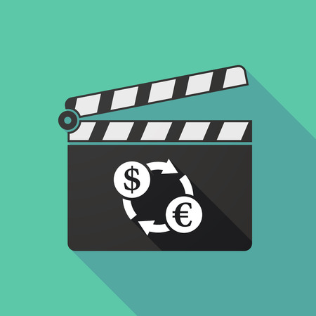 clapperboard: Illustration of a long shadow clapperboard with a dollar euro exchange sign