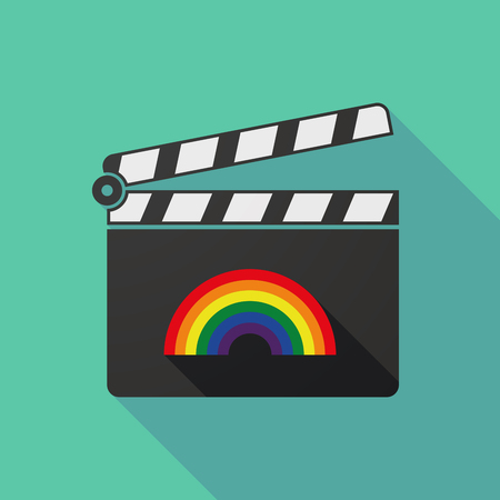 clapperboard: Illustration of a long shadow clapperboard with a rainbow