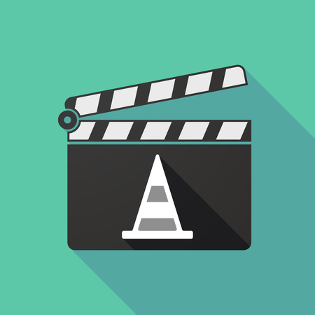 clapperboard: Illustration of a long shadow clapperboard with a road cone