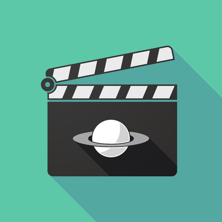 and saturn: Illustration of a long shadow clapperboard with the planet Saturn Illustration