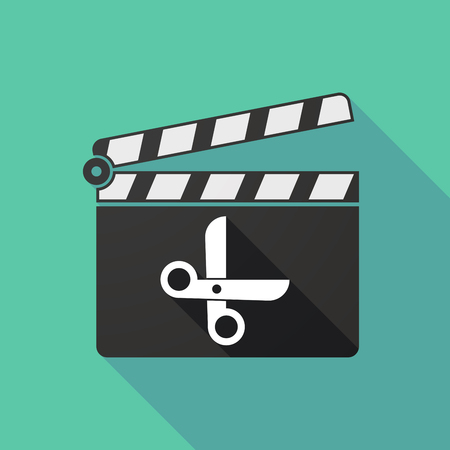 clapperboard: Illustration of a long shadow clapperboard with a scissors