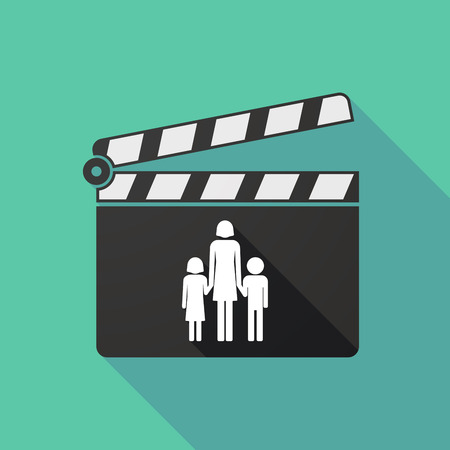 single parent: Illustration of a long shadow clapperboard with a female single parent family pictogram