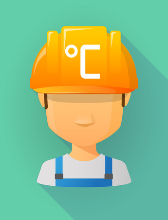 thermostat: Anonymous male worker avatar wearing a safety helmet that shows  a celsius degree sign