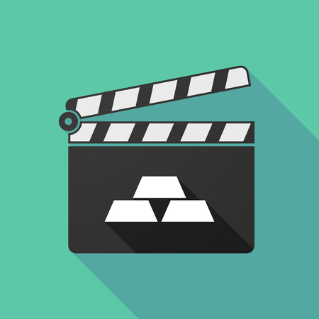slate film: Illustration of a long shadow clapperboard with three gold bullions