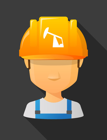 horsehead pump: Anonymous male worker avatar wearing a safety helmet that shows a horsehead pump Illustration