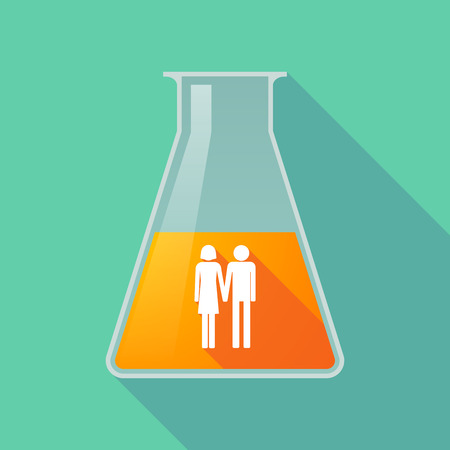 heterosexual couple: Illustration of a long shadow chemical test tube with a heterosexual couple pictogram