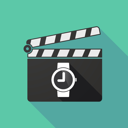 watch movement: Illustration of a long shadow clapperboard with a wrist watch Illustration