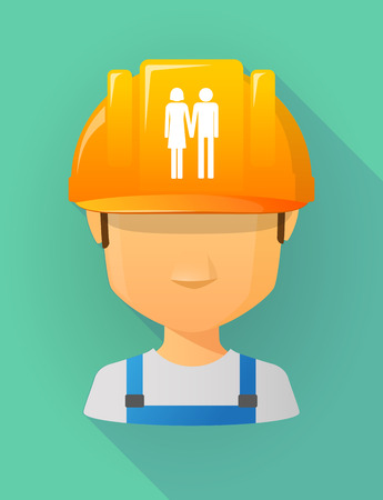 heterosexual: Anonymous male worker avatar wearing a safety helmet that shows a heterosexual couple pictogram Illustration