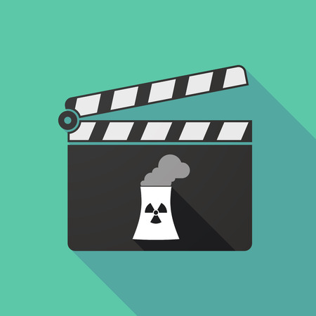 nuclear power station: Illustration of a long shadow clapperboard with a nuclear power station