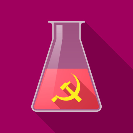 communist: Illustration of a long shadow chemical test tube with  the communist symbol