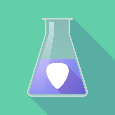 plectrum: Illustration of a long shadow chemical test tube with a plectrum