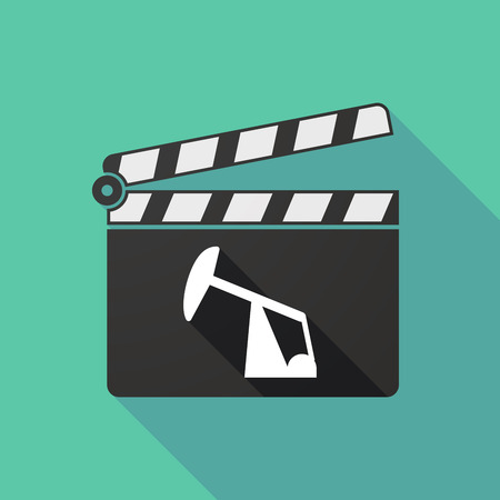 clapperboard: Illustration of a long shadow clapperboard with a horsehead pump Illustration