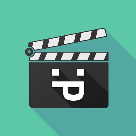 long tongue: Illustration of a long shadow clapperboard with a sticking out tongue text face