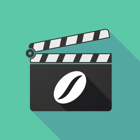 long bean: Illustration of a long shadow clapperboard with a coffee bean Illustration