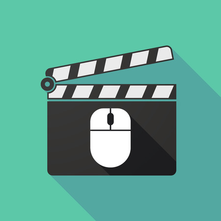 clapperboard: Illustration of a long shadow clapperboard with a wireless mouse