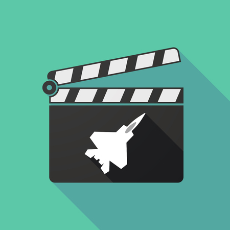 clapperboard: Illustration of a long shadow clapperboard with a combat plane Illustration
