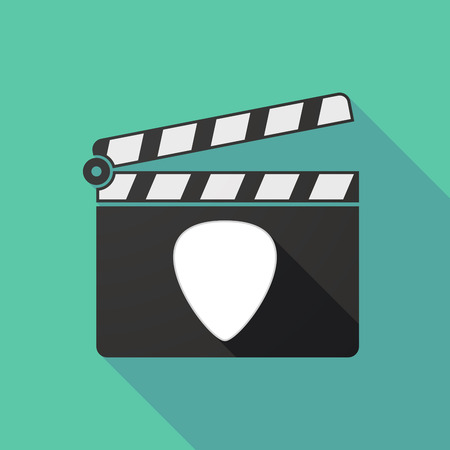 plectrum: Illustration of a long shadow clapperboard with a plectrum Illustration
