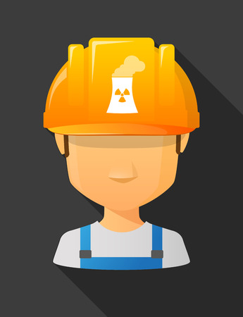nuclear safety: Anonymous male worker avatar wearing a safety helmet that shows a nuclear power station