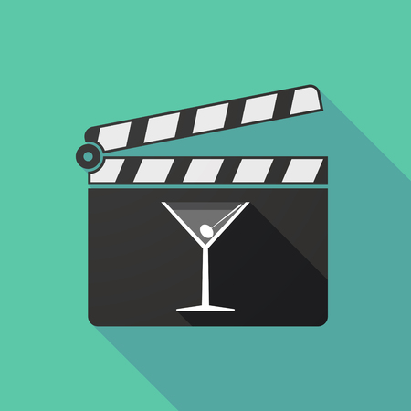 bar scene: Illustration of a long shadow clapperboard with a cocktail glass
