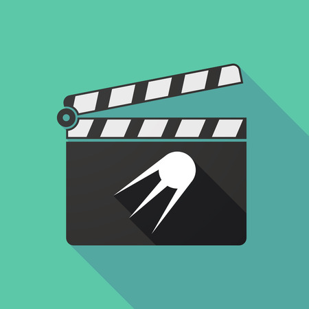 clapperboard: Illustration of a long shadow clapperboard with a vintage satellite
