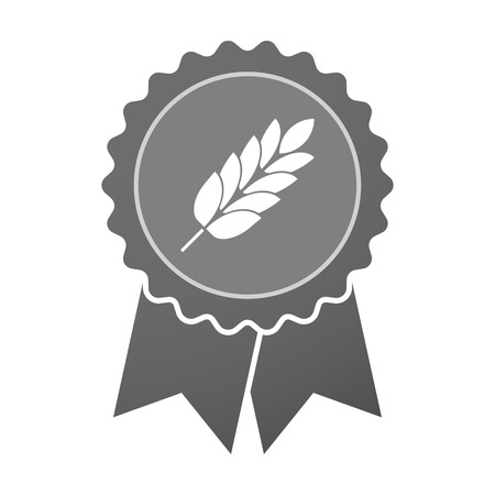 celiac: Illustration of an isolated award badge with  a wheat plant icon