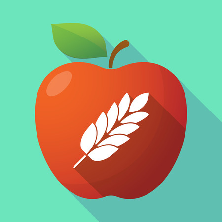 celiac: Illustration of a long shadow red apple icon with  a wheat plant icon Illustration