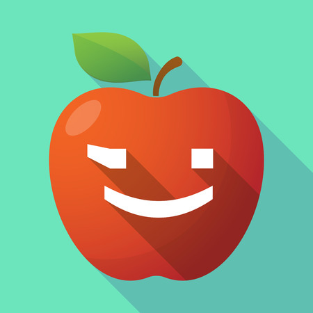 wink: Illustration of a long shadow red apple icon with  a wink text face emoticon