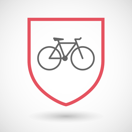 wheel guard: Illustration of an isolated line art shield icon with a bicycle Illustration