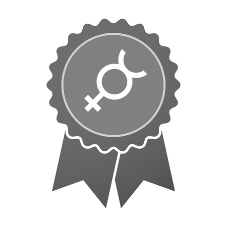 Hermaphrodite: Illustration of an isolated award badge with  the mercury planet symbol