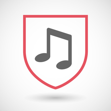 safe and sound: Illustration of an isolated line art shield icon with a note music