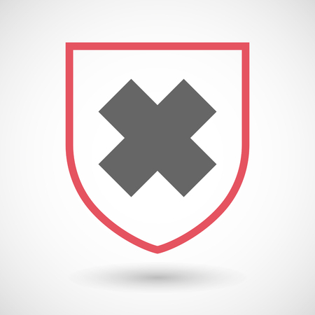 alerting: Illustration of an isolated line art shield icon with an irritating substance sign