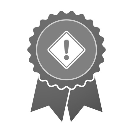 alert ribbon: Illustration of an isolated award badge with   a warning road sign Illustration