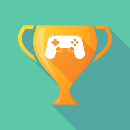 game pad: Illustration of a long shadow award cup icon with  a game pad