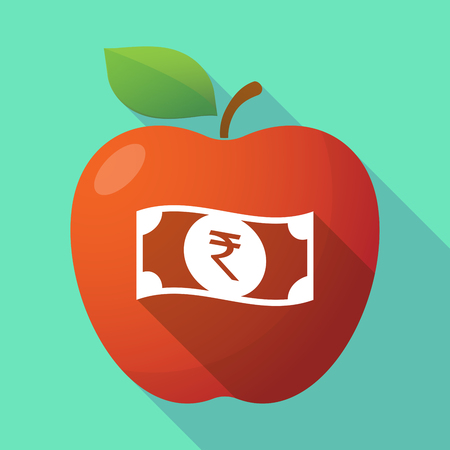 bank note: Illustration of a long shadow red apple icon with  a rupee bank note icon Illustration