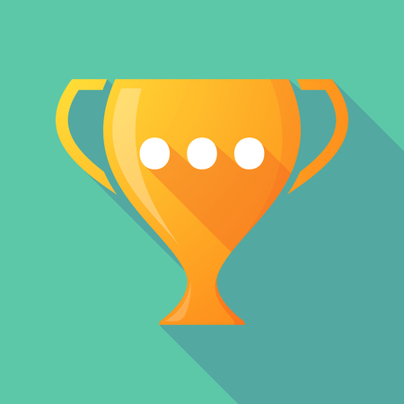 ellipsis: Illustration of a long shadow award cup icon with  an ellipsis orthographic sign Illustration
