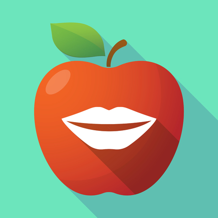 long mouth: Illustration of a long shadow red apple icon with  a female mouth smiling