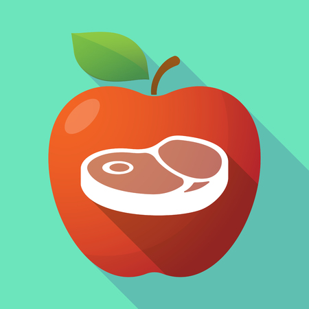 sirloin: Illustration of a long shadow red apple icon with  a steak icon Illustration