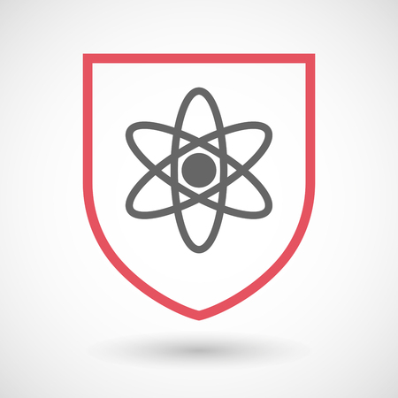 Illustration of an isolated line art shield icon with an atom Ilustração