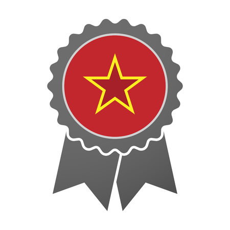 communism: Illustration of an isolated award badge with  the red star of communism icon
