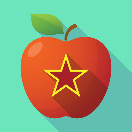 communism: Illustration of a long shadow red apple icon with  the red star of communism icon Illustration