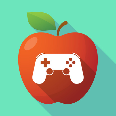 game pad: Illustration of a long shadow red apple icon with  a game pad Illustration